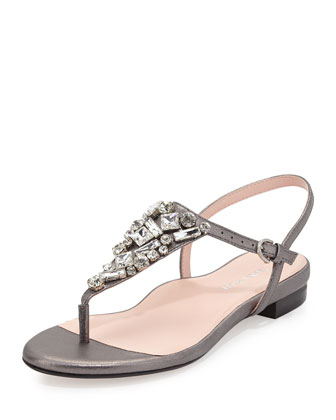 Ibsen Jeweled Thong Sandal, Pewter