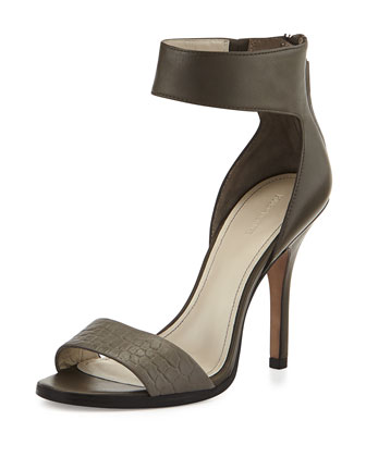 Yara Croc-Embossed High-Heel Sandal, Gray