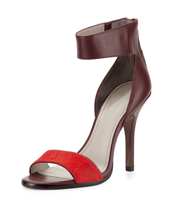 Yara Two-Tone Ankle-Wrap Sandal, Red/Wine