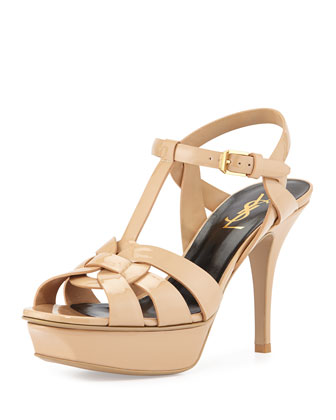 Tribute Patent Leather Sandal, Darker Nude