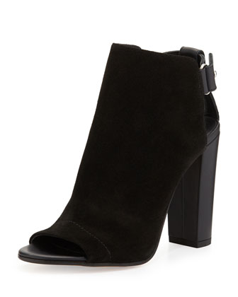 Addison Suede Peep-Toe Bootie, Black