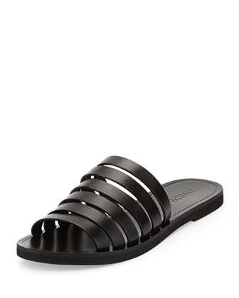Carolina Strappy Leather Sandal, Black