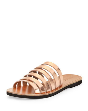 Carolina Strappy Leather Sandal, Rose Gold