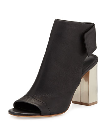 Faye Open-Toe Bootie, Black/Aged Pewter