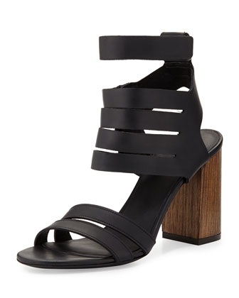 Freida Strappy Leather Sandal, Black
