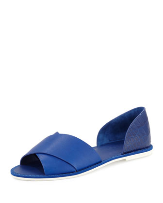 Ida Open-Toe Leather Flat, Cobalt