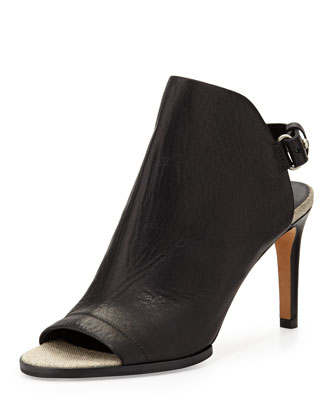 Aden Leather Slingback Bootie, Black