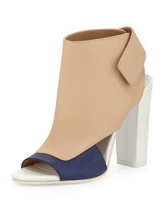 Agatha Colorblock Leather Bootie, Heather/Indigo/Nude