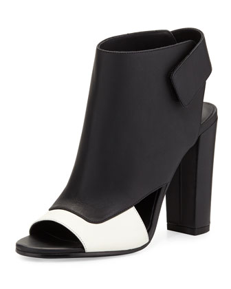 Agatha Open-Toe Bootie, Bone/Black