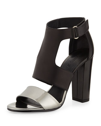 Aretha Bicolor Leather Sandal, Pewter/Black