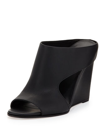 Kaya Leather Wedge Mule, Black