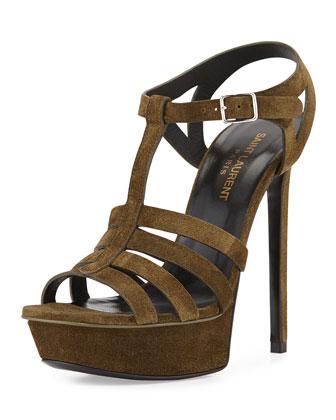 Bianca Suede T-Strap Sandal, Sage