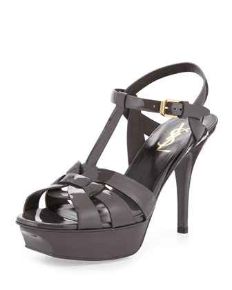 Tribute Patent Leather Sandal, Dark Anthracite