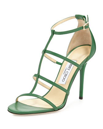 Dory Caged Leather Sandal, Kew