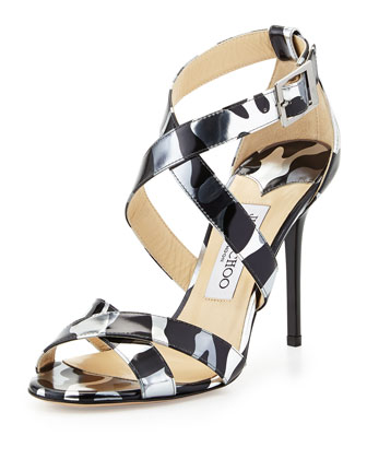Lottie Camo-Leopard-Print Sandal, Steel/Mix