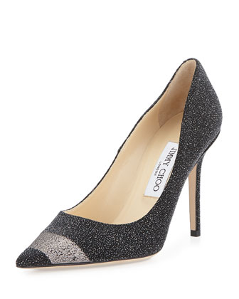 Abel Pixelated Leather Pump, Black/Gunmetal