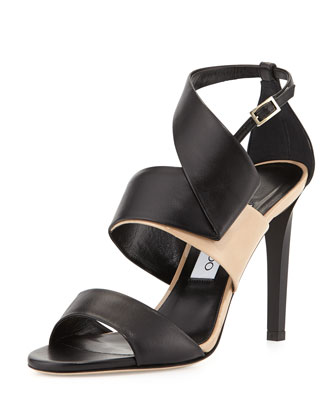 Trapeze Pleated Leather Sandal, Black/Nude