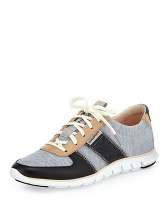 ZeroGrand Lace-Up Sneaker, Gray/Black