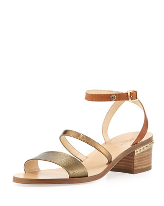Miko Strappy Leather City Sandal, Honey Gold/Caramel