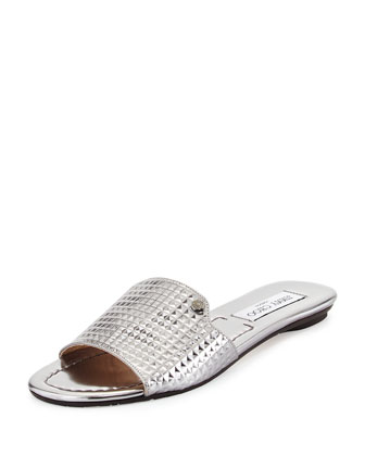 Nanda Mirror Leather Slide, Steel