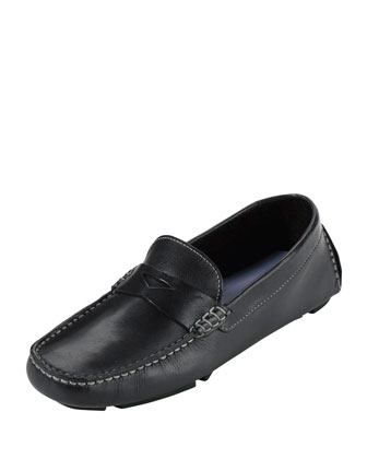 Trillby Leather Slip-On Driver, Black