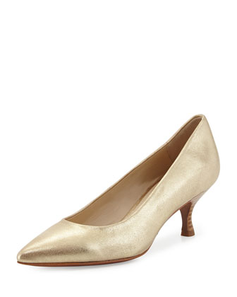 Rome Metallic Low-Heel Pump, Platino