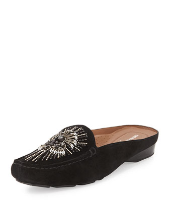 Lucia Beaded Suede Mule, Black