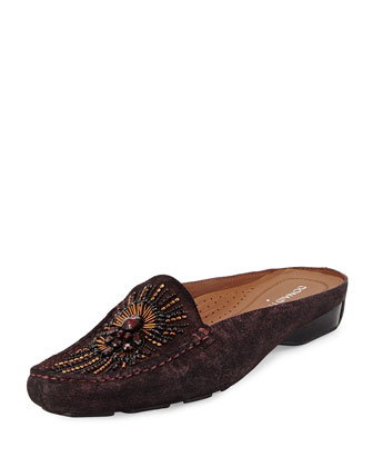Lucia Beaded Suede Mule, Berry