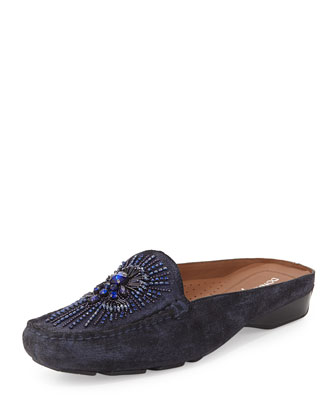 Lucia Beaded Suede Mule, Azul Navy