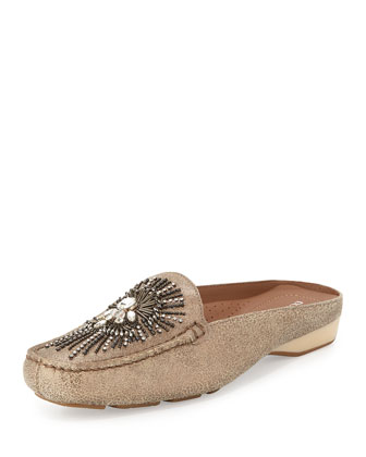 Lucia Beaded Metallic Leather Mule, Bronze