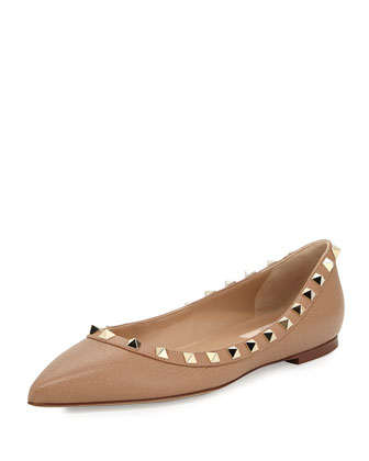 Rockstud Leather Ballerina Flat, Alpaca