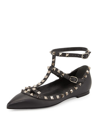 Rockstud Caged Leather Flat, Black