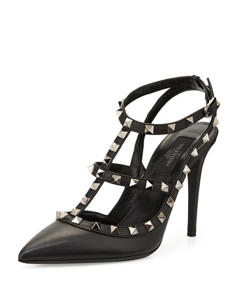 Rockstud Leather T-Strap Pump, Black