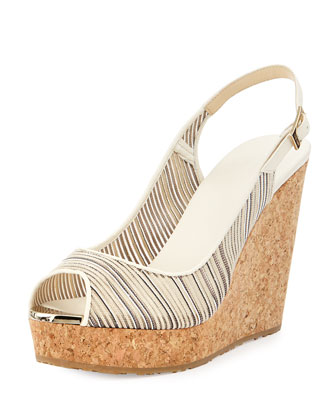 Prova Metallic Striped Wedge Sandal, Off White/Mix