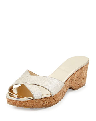 Panna Metallic Leather Slide Sandal, Honey Gold