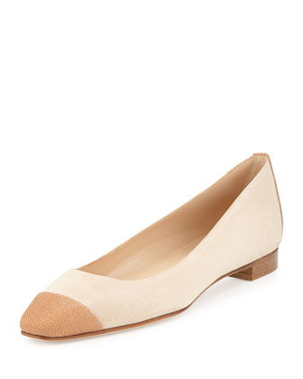Lee Stingray Cap-Toe Ballet Flat, Beige