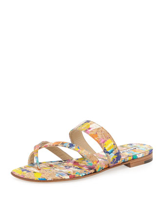 Susa Painted Cork Flat Sandal, Multi