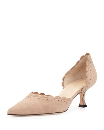 Miah Scalloped Suede d'Orsay Pump, Camel