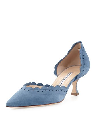 Miah Scalloped d'Orsay Pump, Denim