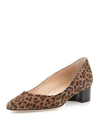Listony Printed Suede Block-Heel Pump, Leopard
