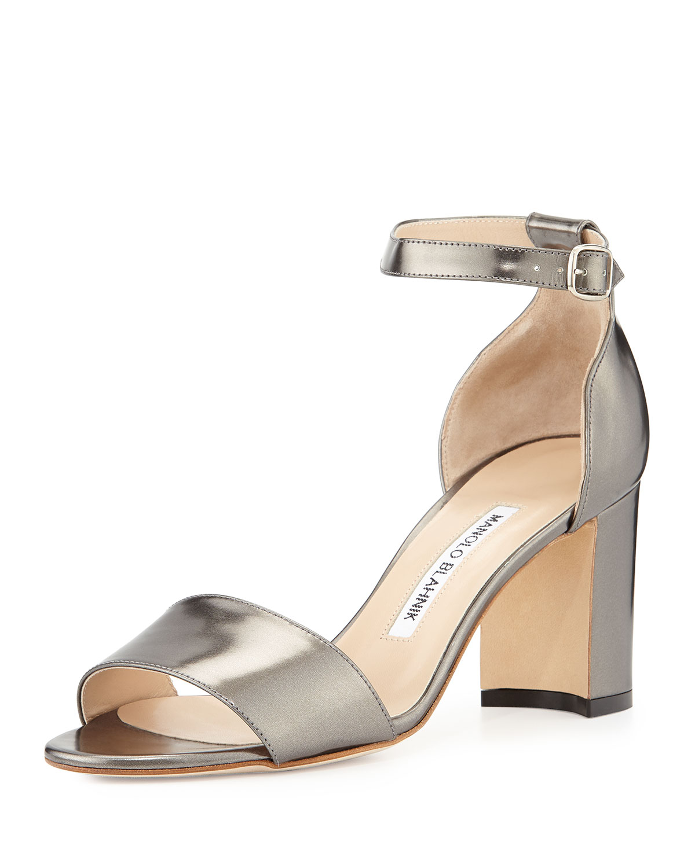 Manolo Blahnik Lauratomod Specchio Ankle-Wrap Sandal, Anthracite, Size: 40.0B/10.0B
