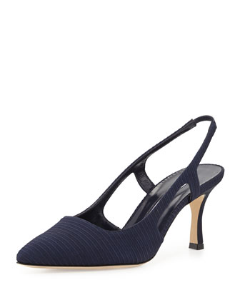 Bretto Textured Fabric Pump, Navy