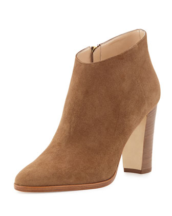 Brusta Low-Cut Suede Ankle Bootie, Beige