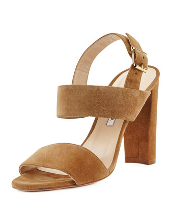 Kahn Suede Double-Band Sandal, Beige