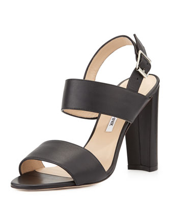 Kahn Double-Band Slingback Sandal, Black