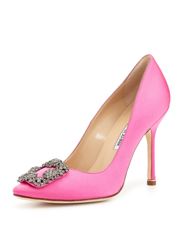 Hangisi Crystal-Buckle Satin 105mm Pump, Pink, Women's, Size: 35.5B/5.5B, Lt Pink - Manolo Blahnik