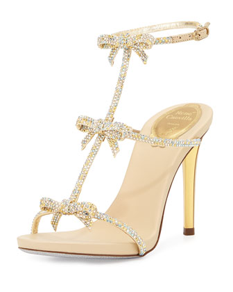 Bow Crystal T-Strap Sandal, Gold