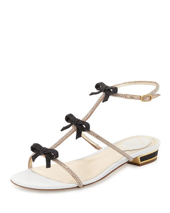 Crystal Bow T-Strap Sandal, Black