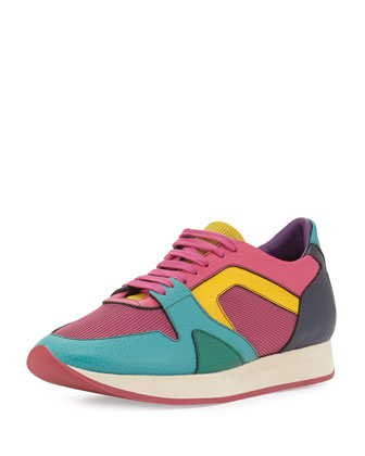 Multicolor Leather Sneaker, Topaz Blue/Green