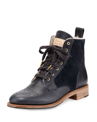 Mr. Darcy Shearling-Lined Lace-Up Ankle Boot, Midnight